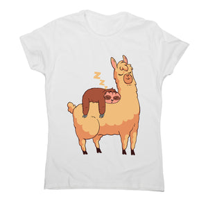 Sloth riding llama - women's funny illustrations t-shirt - Graphic Gear