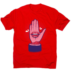 Talk hand - men's funny premium t-shirt - Red / S - Graphic Gear