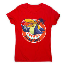 Load image into Gallery viewer, Tucan drinking beer - women's funny premium t-shirt - Graphic Gear