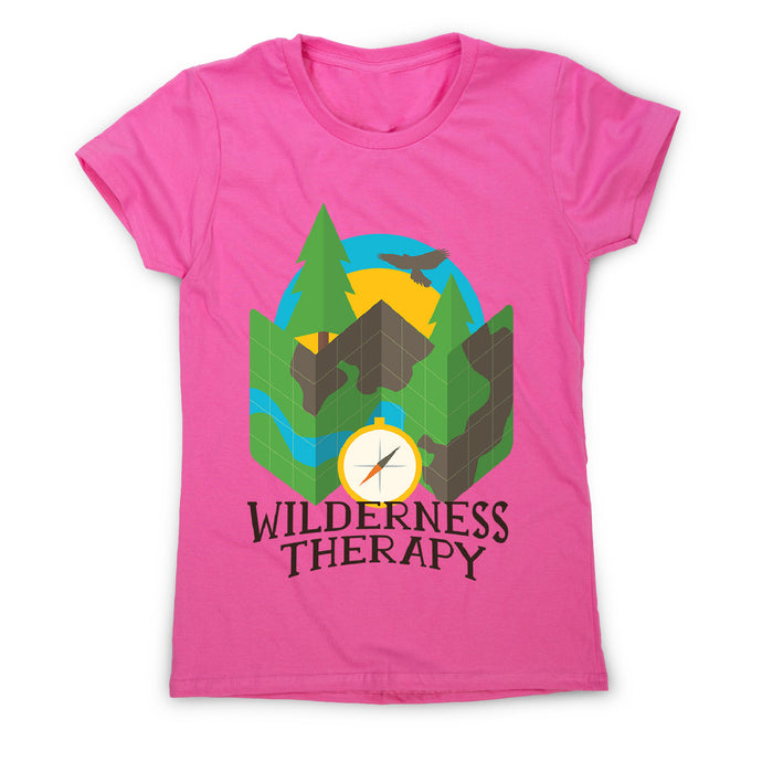 Wilderness camping - women's funny premium t-shirt - Pink / S - Graphic Gear