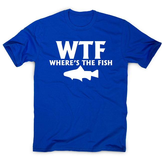 Wtf where's the fish funny fishing t-shirt men's - Graphic Gear