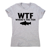 Wtf where's the fish funny fishing t-shirt women's - Graphic Gear