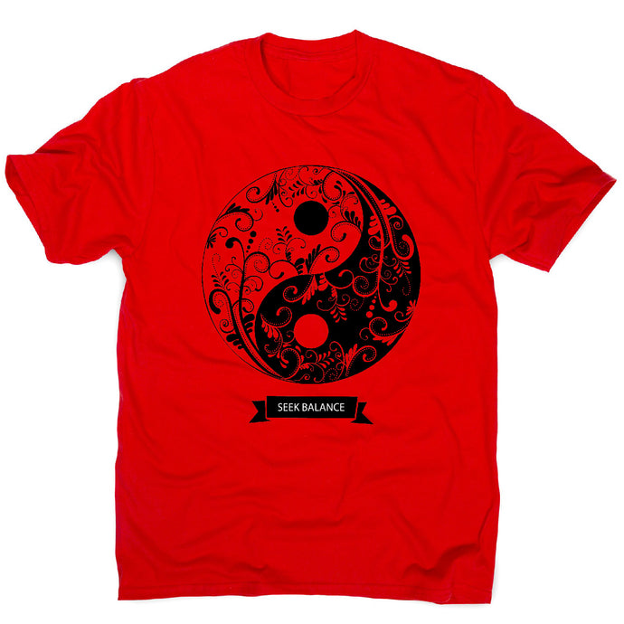 Yin yang mandala - men's t-shirt - Red / S - Graphic Gear