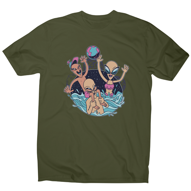 Alien pool party funny design t-shirt men's - Graphic Gear