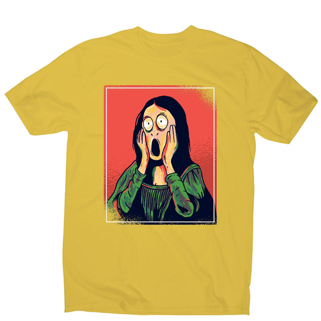 Cartoon mona lisa - men's funny premium t-shirt - Graphic Gear