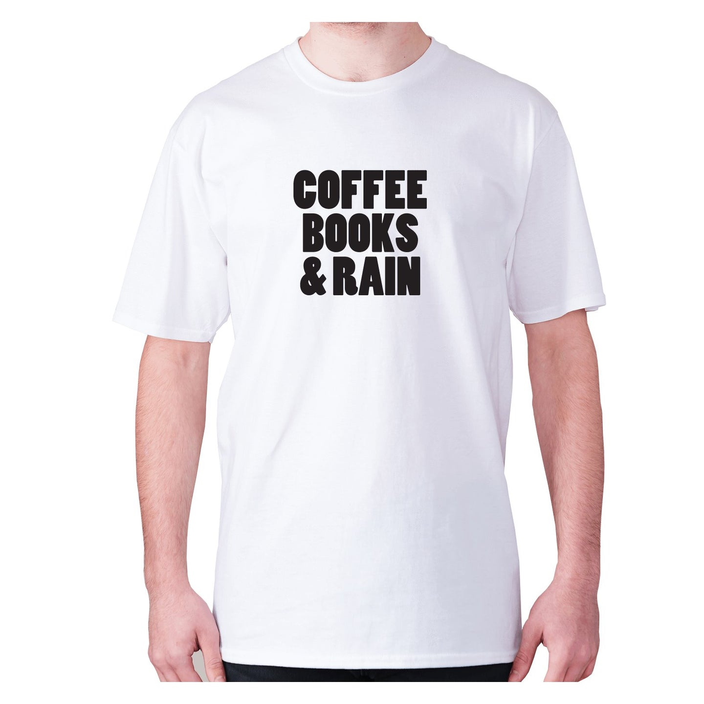 Coffee books and rain - men's premium t-shirt - Graphic Gear