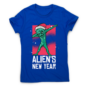 Dabbing alien new year Christmas funny t-shirt women's - Graphic Gear