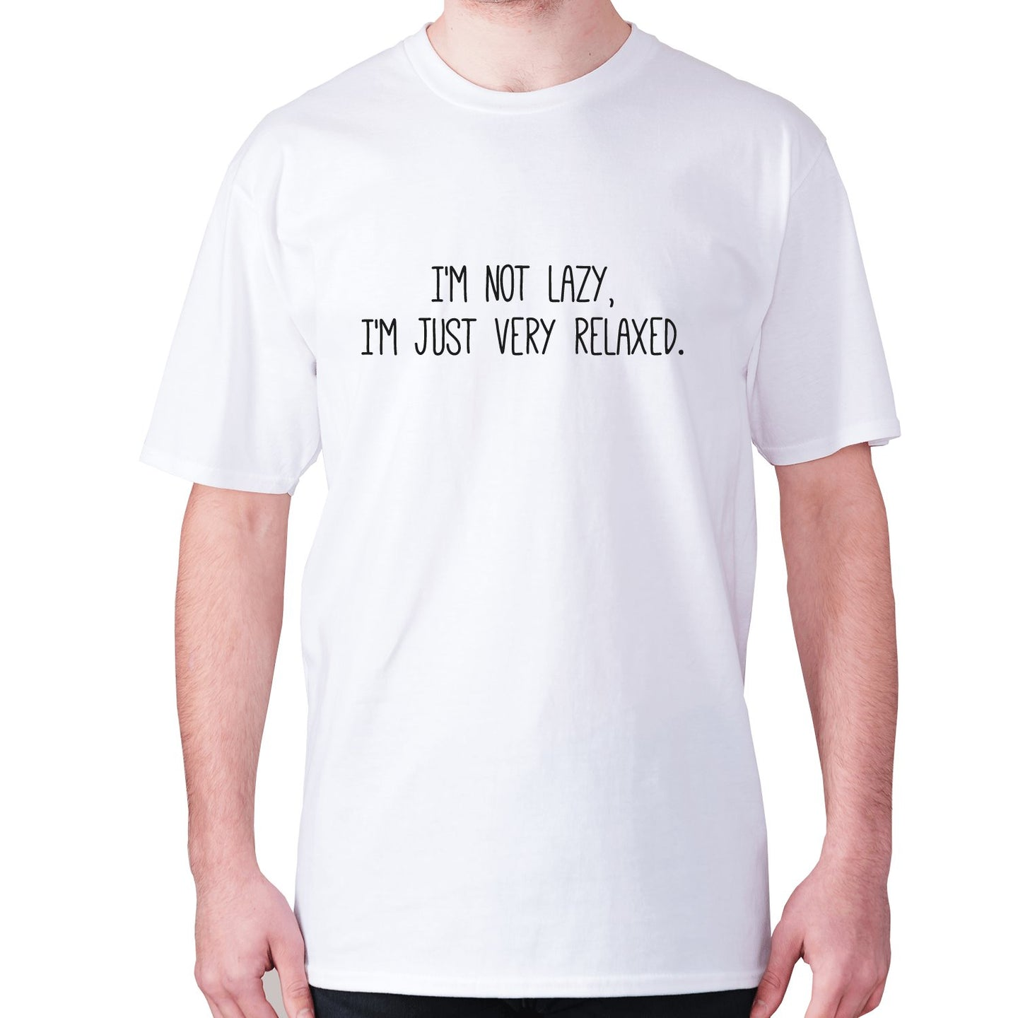 I'm not lazy, I'm just very relaxed - men's premium t-shirt - White / S - Graphic Gear