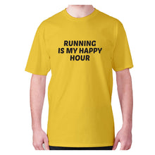 Load image into Gallery viewer, Running is my happy hour - men's premium t-shirt - Yellow / S - Graphic Gear