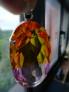 Large Pink and Yellow Bi Tourmaline Pendant