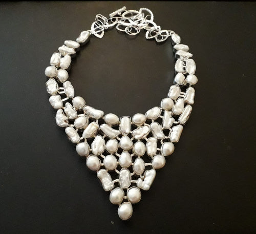 Stunning Biwa Pearl Statement Necklace