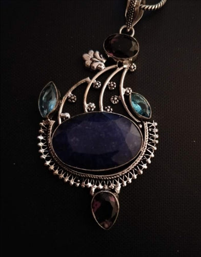 Sapphire, Topaz and Amethyst Pendant