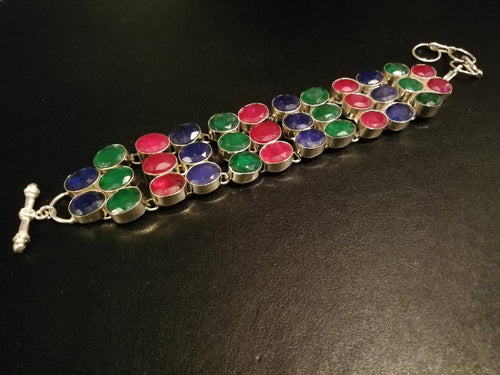 Sapphire, Emerald and Ruby Bracelet