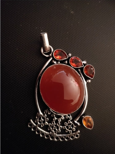 Carnelian and Orange Quartz Pendant