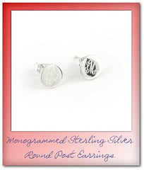 monogrammed sterling silver round post earrings and stud