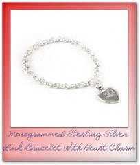 monogrammed sterling silver bracelet with heart charm
