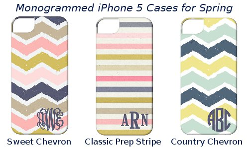 Monogrammed iPhone 5 cases for spring