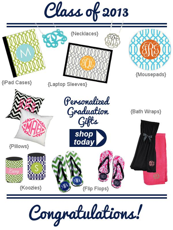 Personalized graduation gifts by Three Hip Chicks