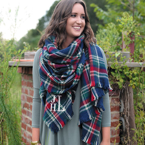 Monogram Navy Blanket Scarf
