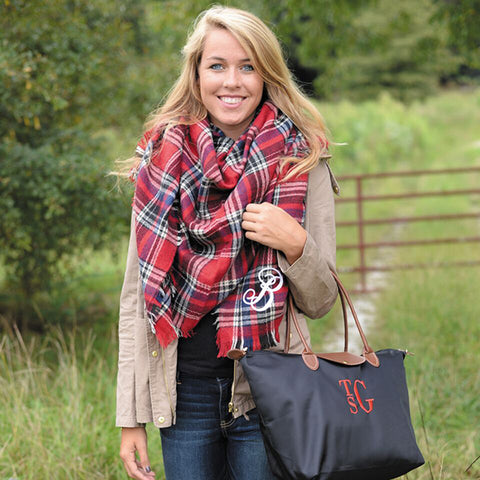 Red Monogram Blanket Scarf