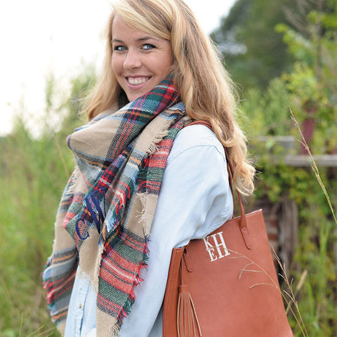 Tan Monogram Blanket Scarf