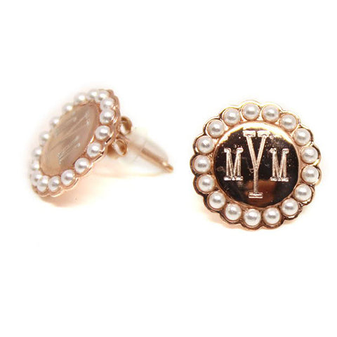 rose gold earrings with pearl rim