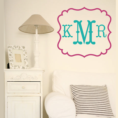 Square Flourish Monogrammed Wall Decal - Design It
