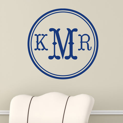 Round Open Monogram Wall Decal-Design It