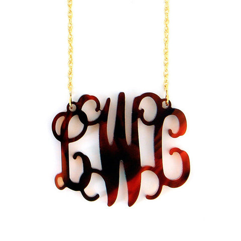 Script Acrylic Monogram Necklace