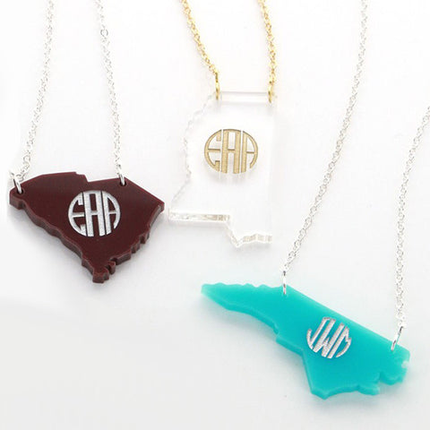 Monogram Acrylic State Necklace