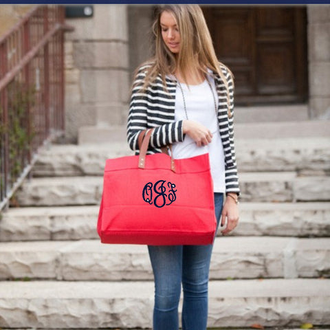 Monogram Canvas And Leather Tote - Choose Color