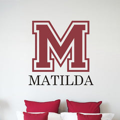 Collegiate Monogram Wall Decal - Girl