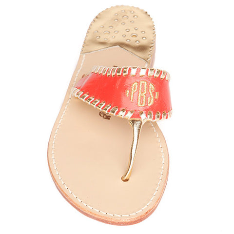 Aubrey Coral Monogram Palm Beach Sandals