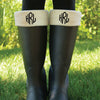 Monogram Cream Boot Socks - Diamond Font