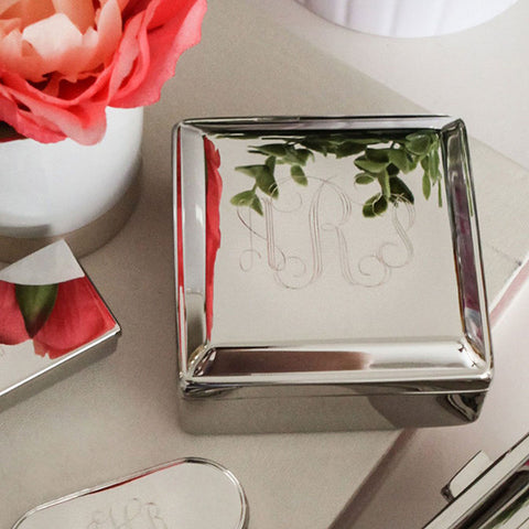 small square silver jewelry box