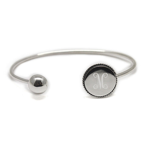 sterling silver bangle bracelet with rope trim disk