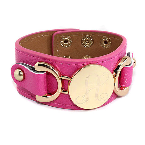 Leather Monogram Bracelet - Choose Color