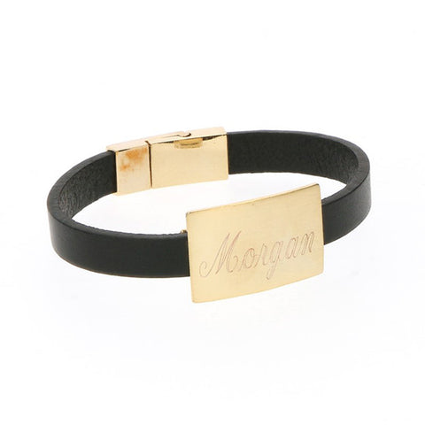black monogram leather bracelet