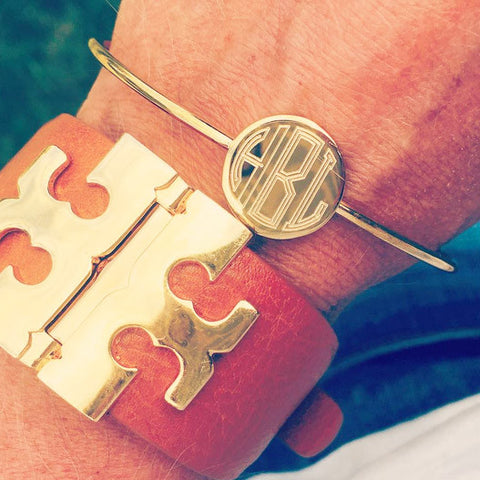 Gold Disc Cuff Monogram Bracelet