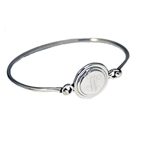 Monogram Silver Latch Bracelet - Beveled