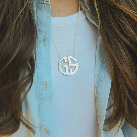 Sterling Silver Circle Monogram Necklace - Two Initials