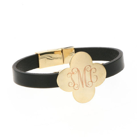 clover monogram leather bracelet