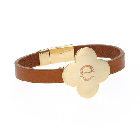 Brown leather bracelet with clover charm
