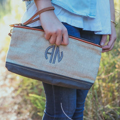 canvas and leather monogram clutch