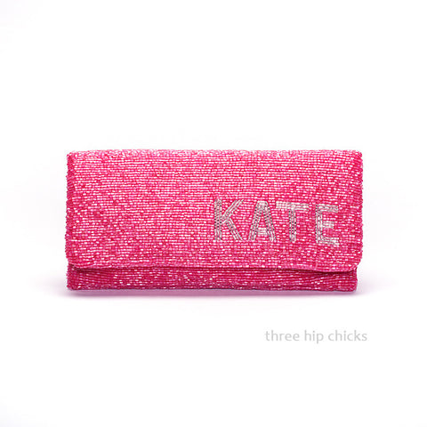 Monogram Beaded Clutch Bag - Choose Colors