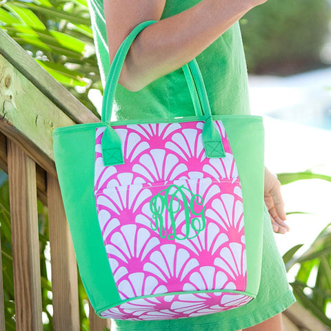 shells green and pink cooler tote
