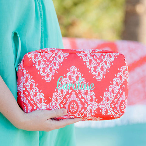 coral cove monogram cosmetic bag