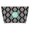 Damask Makeup Bag - Black
