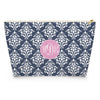 Damask Makeup Bag - Navy