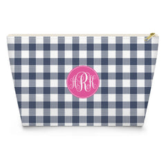 Gingham Makeup Bag - Navy